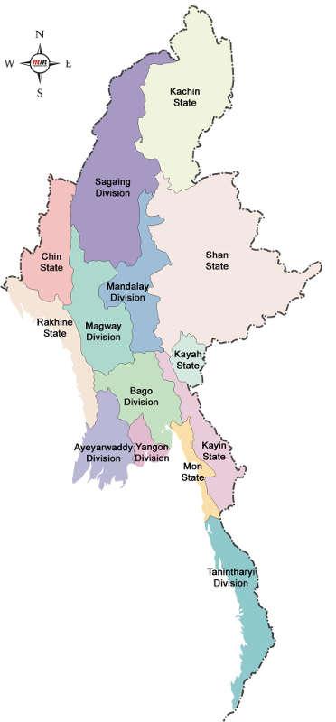 Carte du Myanmar