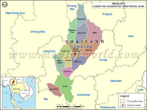 Carte de la province de Lampang