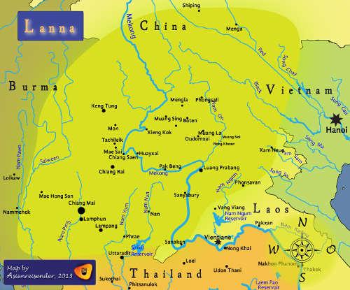 Carte du Royaume Lanna Thai à son apogée