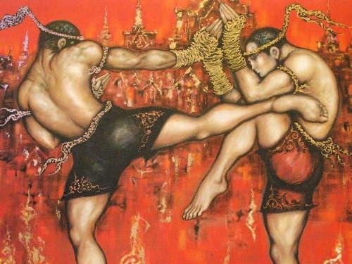 Peinture Ancienne Boxe Thaïlandaise